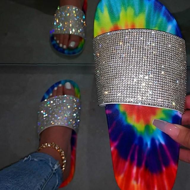 Women's Slippers & Flip-Flops Flat Heel Open Toe Daily PU Summer Rainbow