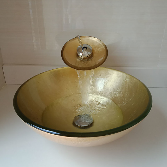 Round Golden Tempered Glass Vessel Sink with Waterfall Faucet Pop - Up Drain and Mounting Ring