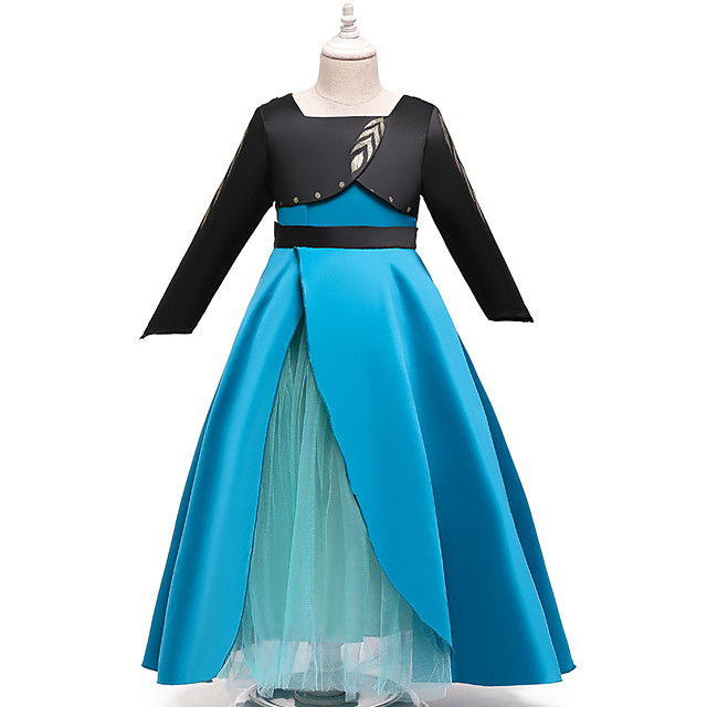 Princess Anna Dress Flower Girl Dress Girls' Movie Cosplay A-Line Slip Blue Dress Children's Day Masquerade Tulle Polyester