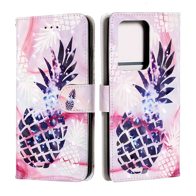Case For Samsung Galaxy S20 / S20 Plus / S20 Ultra Wallet / Card Holder / with Stand Purple Pineapple PU Leather / TPU for Galaxy A51 / A71 / A41 / A21 / A11 / A01 / A50(2019) / A30S(2019)