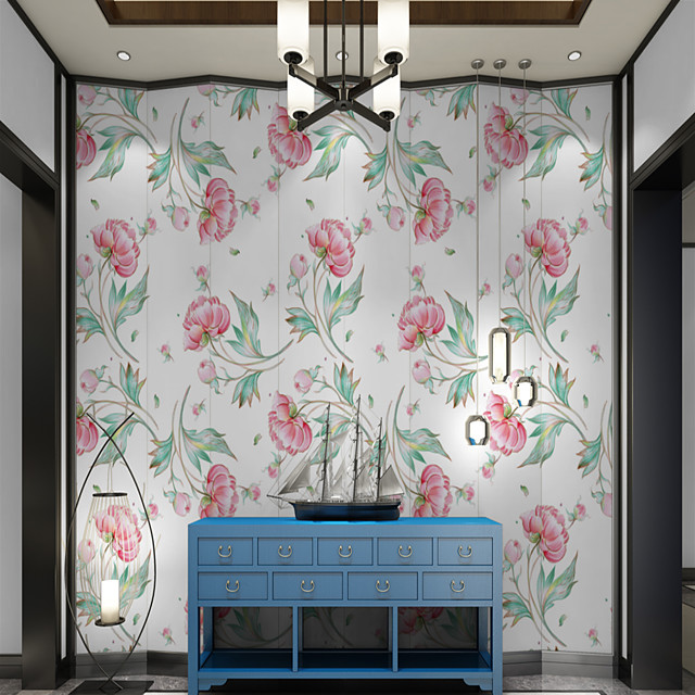 Art Deco Custom Self-Adhesive Mural Wallpaper With White Camellia Is Suitable For Bedroom Living Room Coffee Shop Restaurant And Hotel Wall Decoration Art