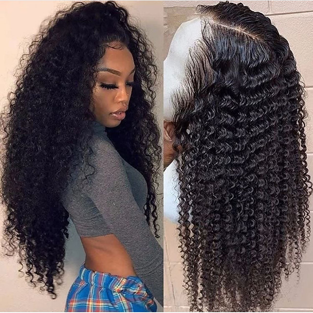 Synthetic Lace Front Wig Curly Gaga Middle Part Lace Front Wig Long Black#1B Synthetic Hair 22-26 inch Women's Heat Resistant Women Hot Sale Black / Glueless