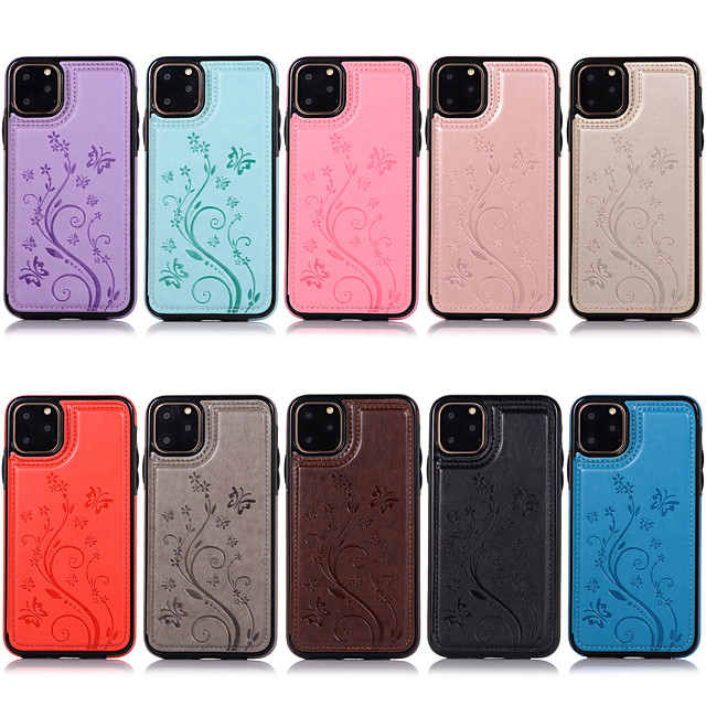 Case For Apple iPhone 11 / iPhone 11 Pro / iPhone 11 Pro Max Card Holder / Shockproof Full Body Cases Flower PU Leather / TPU
