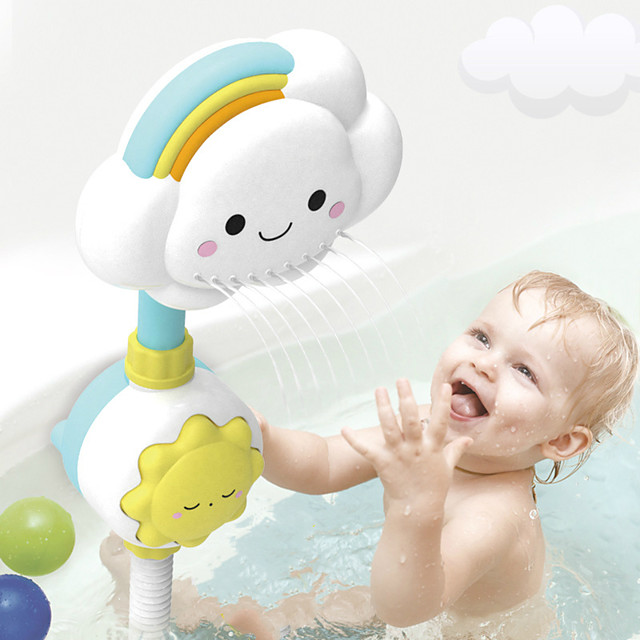 Multi-directional Baby Rainbow Shower Children Kids Bath Cloud Flower Spray Water Shower Head Tub Faucet Bathroom Funny Toys