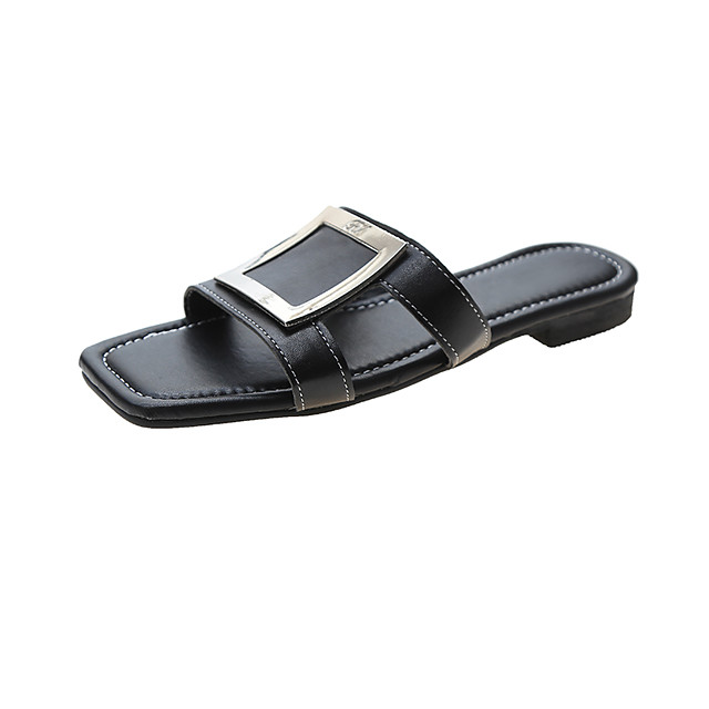 Women's Sandals / Slippers & Flip-Flops Flat Sandal 2020 Spring & Summer Flat Heel Open Toe Daily Home Buckle PU White / Black / Blue