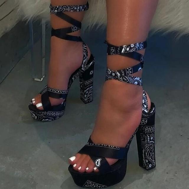 Women's Sandals Summer Pumps Open Toe Daily PU Fuchsia / Blue / Black