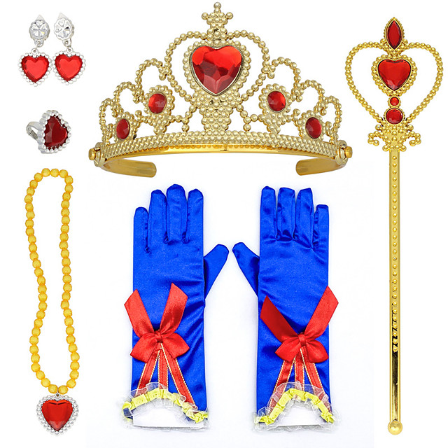 Princess Princess Cosplay Jewelry Accessories Girls' Movie Cosplay RedYellow 1 Ring Gloves Crown Children's Day Masquerade Plastics / Necklace / Earrings / Wand