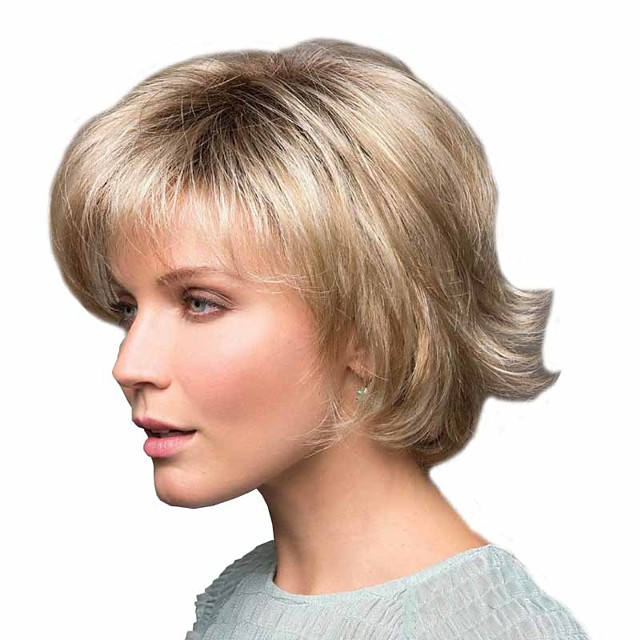 Synthetic Wig Curly Matte Side Part Wig Short Light golden Synthetic Hair 6 inch Women's Easy dressing curling Fluffy Blonde