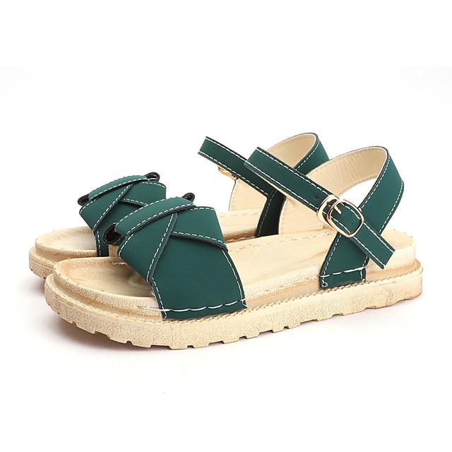Women's Sandals Flat Sandal Summer Flat Heel Open Toe Casual Daily Buckle Cowhide Black / Khaki / Green