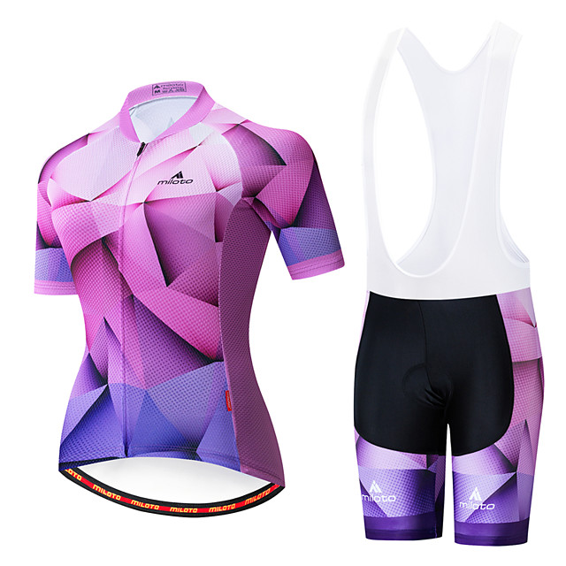 Miloto Women's Short Sleeve Cycling Jersey with Bib Shorts Purple White Bike Breathable Sports Patterned Mountain Bike MTB Road Bike Cycling Clothing Apparel / Stretchy