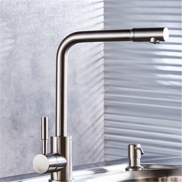 304 Stainless Steel Kitchen Faucet Hot And Cold Sitting Type Rotating Brushed Sink Sink Faucet