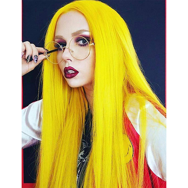 Synthetic Lace Front Wig Straight Side Part Lace Front Wig Long Yellow Synthetic Hair 18-26 inch Women's Soft Adjustable Party Yellow