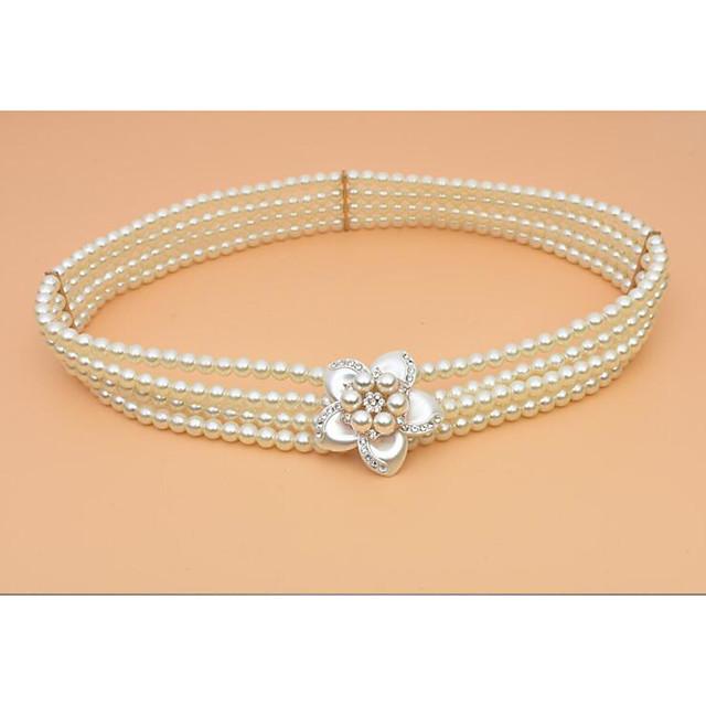 Metalic Wedding / Party / Evening Sash With Imitation Pearl / Belt Women's Sashes
