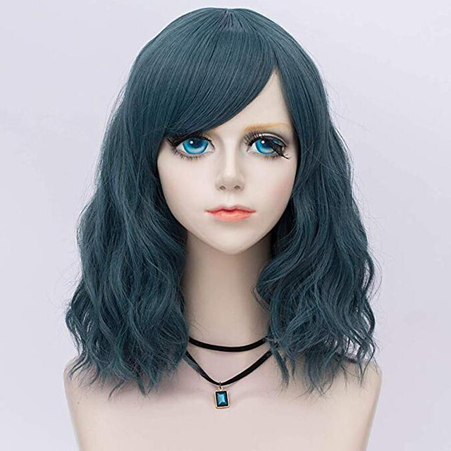 Synthetic Wig Curly Loose Curl Halloween Asymmetrical Wig Medium Length Natural Black Synthetic Hair 24 inch Women's Best Quality Black