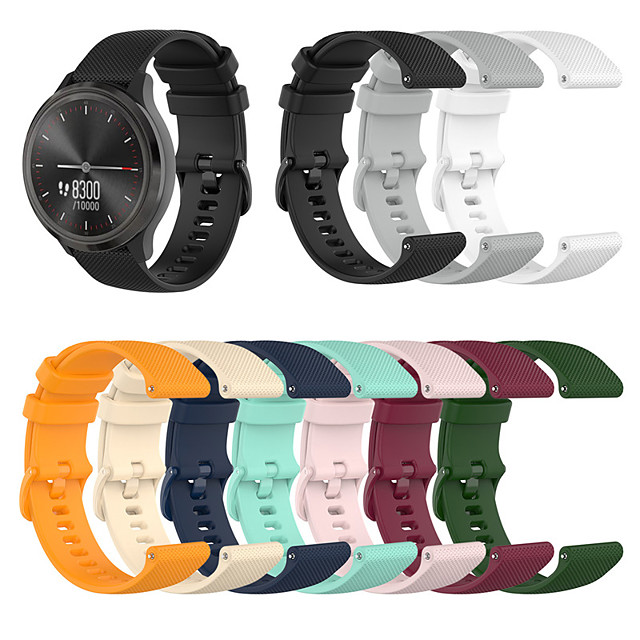 Sport Silicone Wrist Strap Watch Band for Garmin Vivoactive 4S / Vivomove 3S / Active S / Ticwatch C2 Replaceable Bracelet Wristband
