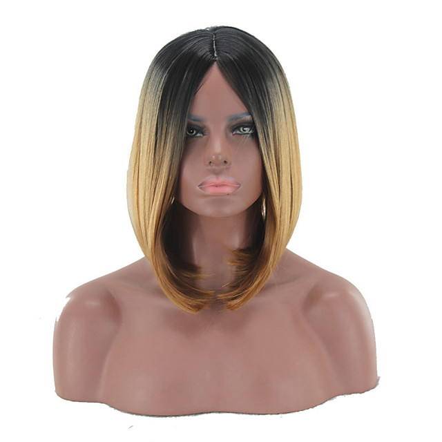 Synthetic Wig kinky Straight Middle Part Wig Short Light Brown Synthetic Hair 12 inch Women's Simple Life Women Brown