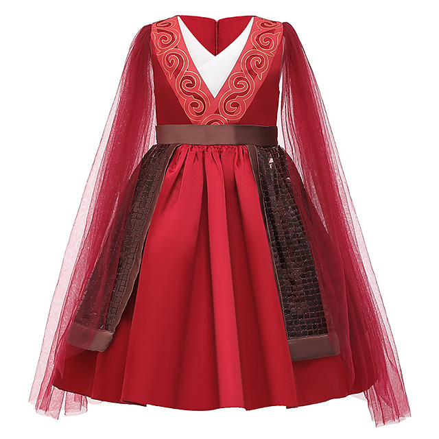 Princess Mulan Dress Flower Girl Dress Girls' Movie Cosplay A-Line Slip Red Dress Children's Day Masquerade Tulle Polyester