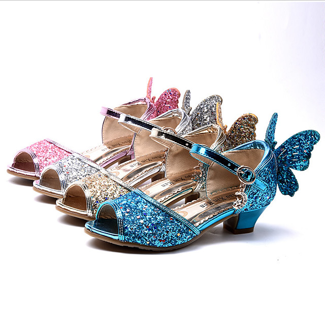 Princess Elsa Shoes Girls' Movie Cosplay Sequins Golden / Blue / Pink Shoes Children's Day Masquerade