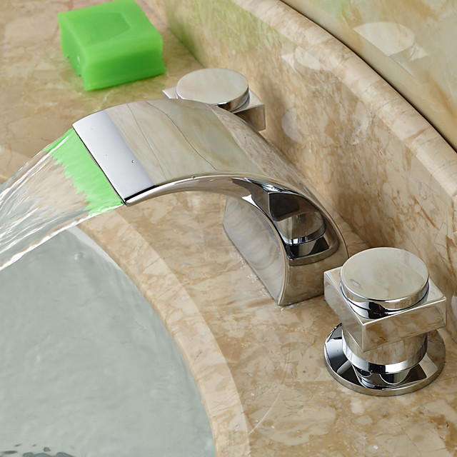 Bathroom Sink Faucet - LED / Widespread / Waterfall Chrome Deck Mounted Two Handles Three HolesBath Taps/Faucet Waterfall/HandlesBath Taps/ HandlesBath Taps