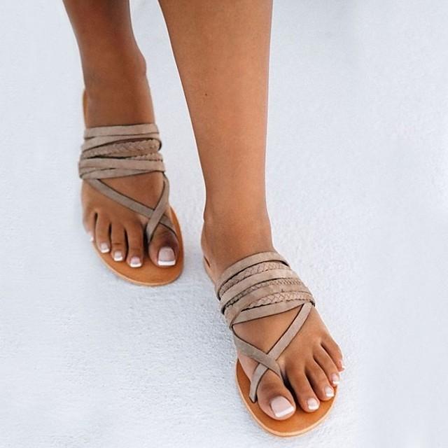 Women's Sandals Flat Sandals Summer Flat Heel Open Toe Daily PU Yellow / Gray / Bunion Sandals