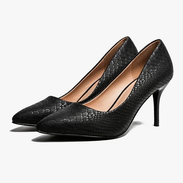 Women's Heels Summer Stiletto Heel Pointed Toe Daily PU White / Black / Beige