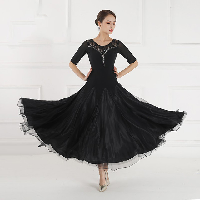 Ballroom Dance Dress Split Joint Crystals / Rhinestones Women's Training Performance Half Sleeve Stretch Yarn Lace Lycra