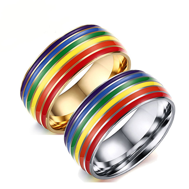 Ring Rainbow Steel Stainless For LGBT Pride Cosplay Men's Costume Jewelry Fashion Jewelry