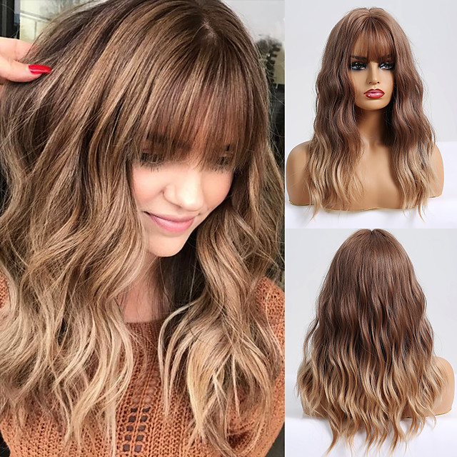 Synthetic Wig Wavy Matte Neat Bang Wig Long Light Brown Synthetic Hair 20 inch Women's Color Gradient Highlighted / Balayage Hair Light Brown