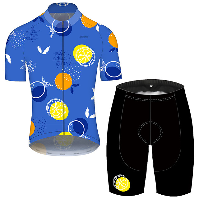 21Grams Men's Short Sleeve Cycling Jersey with Shorts Spandex Polyester Blue Fruit Lemon Bike Clothing Suit UV Resistant Breathable 3D Pad Quick Dry Reflective Strips Sports Fruit Mountain Bike MTB