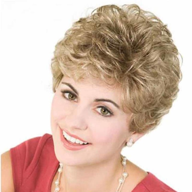 Synthetic Wig Curly Matte Short Bob Wig Short Light golden Synthetic Hair 6 inch Women's Best Quality curling Fluffy Blonde