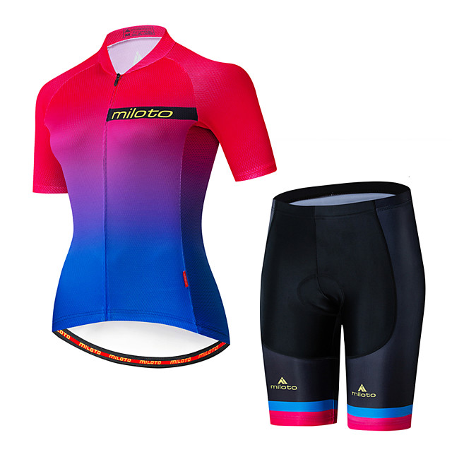 Miloto Women's Short Sleeve Cycling Jersey with Shorts Red+Blue Bike Breathable Sports Patterned Mountain Bike MTB Road Bike Cycling Clothing Apparel / Stretchy