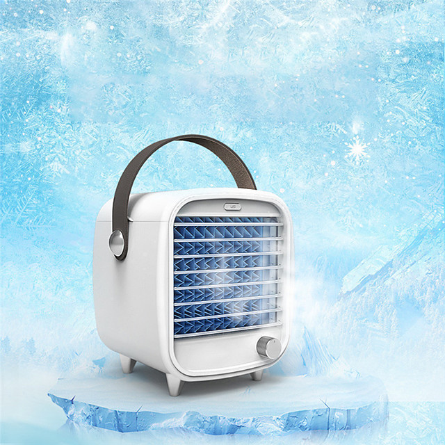 1pcs Portable Mini Air Conditioner Fan Stepless USB Air Cooler Quick Cooling LED Humidifier Purifier Home Office Desktop Cooler