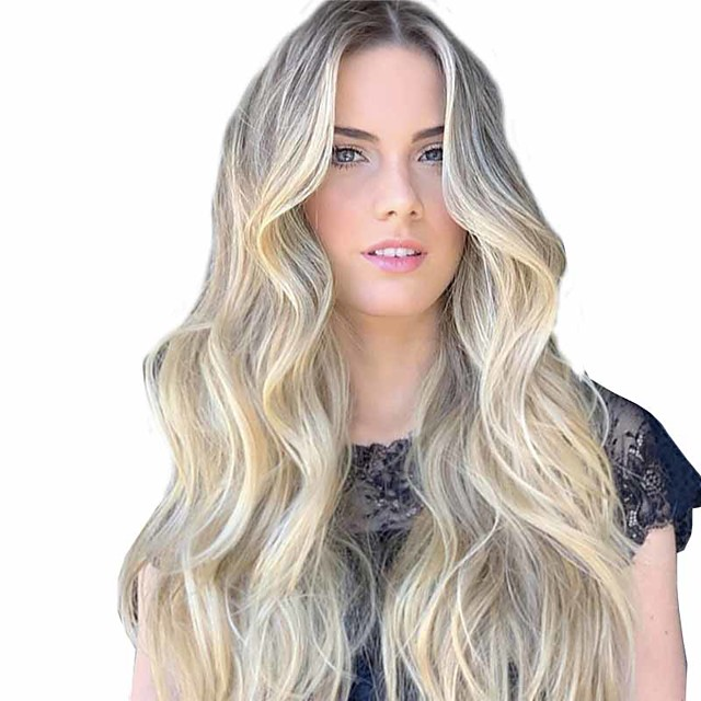 Synthetic Wig Matte Body Wave Middle Part Wig Long Light golden Synthetic Hair 26 inch Women's Middle Part curling Fluffy Blonde