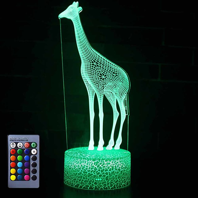 Giraffe 3D Night Light Table Desk Optical Illusion Lamps 16 Color Changing Lights