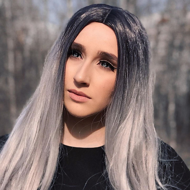 Synthetic Lace Front Wig Straight Gaga Middle Part Lace Front Wig Long Ombre Grey Synthetic Hair 22-26 inch Women's Heat Resistant Women Hot Sale Ombre / Glueless