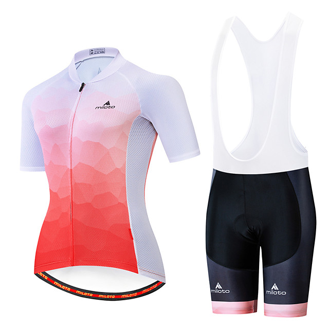 Miloto Women's Short Sleeve Cycling Jersey with Bib Shorts White Black Bike Breathable Sports Patterned Mountain Bike MTB Road Bike Cycling Clothing Apparel / Stretchy