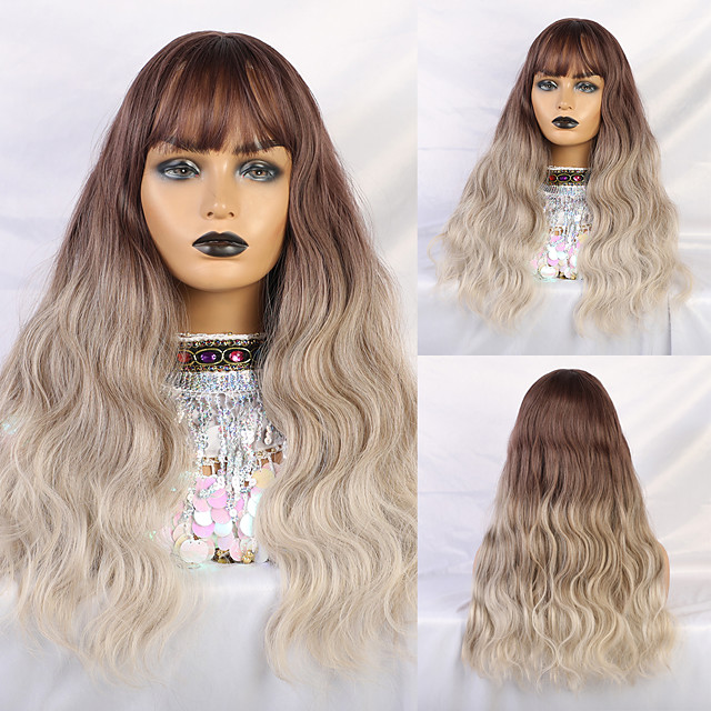 Synthetic Wig Human Hair Lace Wig Matte Water Wave Minaj Neat Bang Wig Medium Length Light Brown Synthetic Hair 26 inch Women's Cute Sexy Lady curling White Ombre