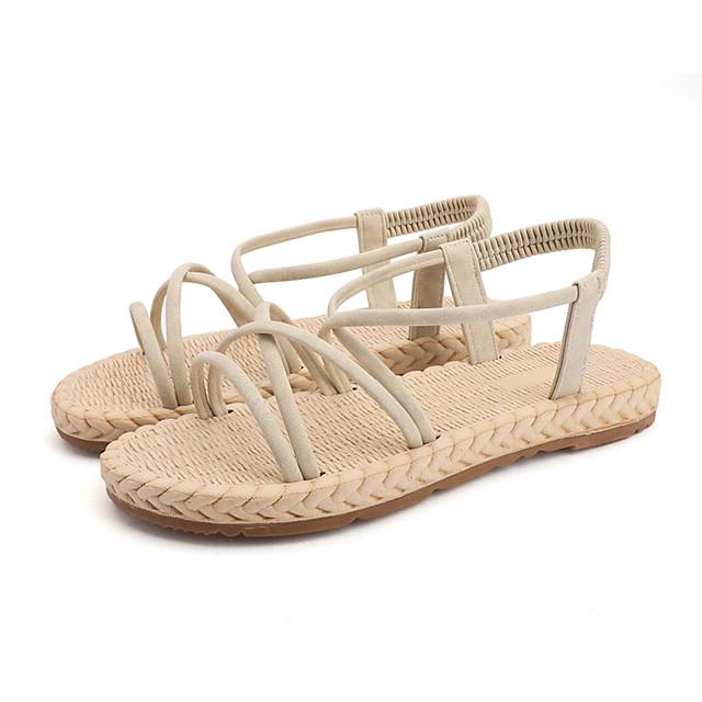 Women's Sandals Flat Sandal Summer Flat Heel Open Toe Sweet Daily Outdoor Suede Black / Pink / Beige