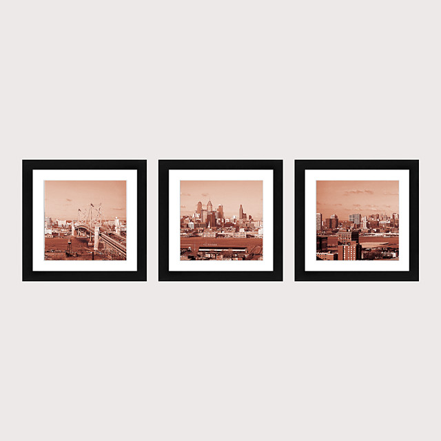 Framed Art Print Framed Set 3 American Style Pastoral Decorative Painting French Style Dining room Fresco Porch Bedroom Bedside  Building Street Scenery Hanging Pictures