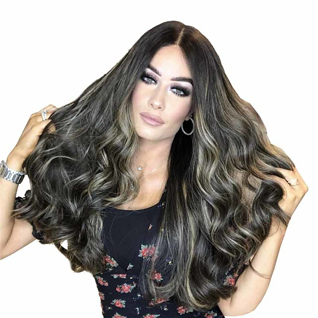 Synthetic Wig Matte Body Wave Middle Part Wig Long sepia Synthetic Hair 26 inch Women's Sexy Lady Exquisite Waterfall Brown