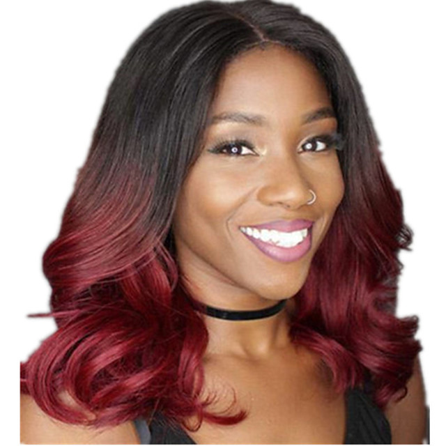 Synthetic Wig Curly Middle Part Wig Long Burgundy Synthetic Hair 12 inch Women's Ombre Hair Middle Part curling Burgundy