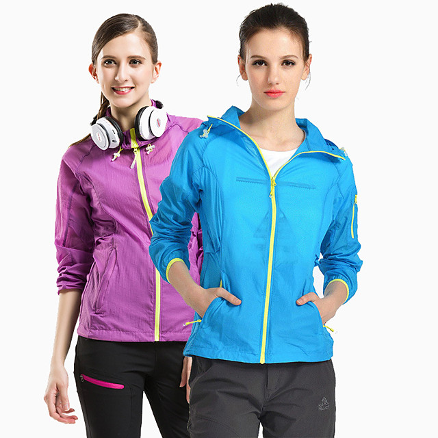 Women's Hiking Skin Jacket Hiking Jacket Hiking Windbreaker Summer Outdoor Sunscreen Breathable Quick Dry Anti-Mosquito Jacket Top Elastane Single Slider Running Hunting Fishing Light Purple / Royal