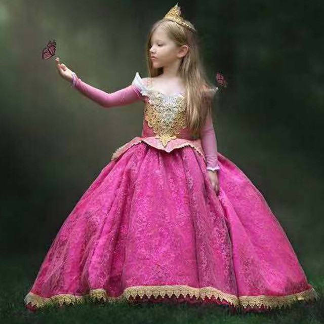 Princess Sleeping beauty Aurora Dress Cosplay Costume Girls' Movie Cosplay A-Line Slip Vacation Dress Halloween Fuchsia Dress Halloween Carnival Masquerade Lace Polyester