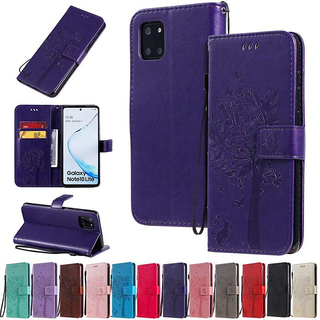 Case For Samsung Galaxy A91 / M80S / Galaxy A81 / M60S / S20 Plus Wallet/Card Holder / with Stand Full Body Cases Solid Colored / Tree PU Leather For Galaxy A01/A11/A21/A41/A51/A71/A70E/M31/S20 Ultra
