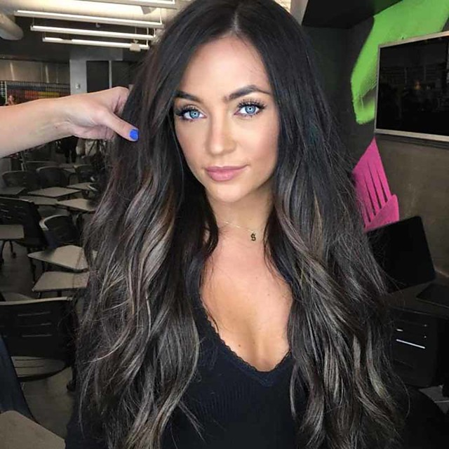 Synthetic Wig Curly Middle Part Wig Very Long Black / Brown Synthetic Hair 26 inch Women's Ombre Hair curling Fluffy Ombre