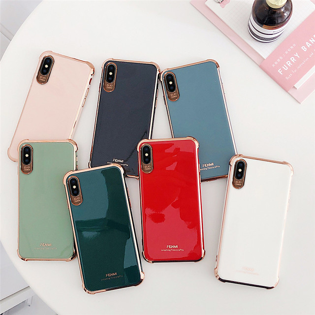 Case For Apple iPhone 7/8/7P/8P/X/XS/XR/XS Max/11/11Pro/11Pro Max/SE 2020Shockproof / Plating Back Cover Solid Colored TPU