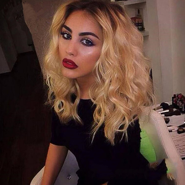 Synthetic Wig Curly Middle Part Wig Medium Length Blonde Synthetic Hair 24 inch Women's Ombre Hair curling Fluffy Blonde