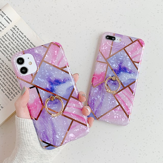Case for Apple 11 11Pro 11ProMax X XR XSMAX stitched electroplated marble pattern IMD process matte TPU material ring phone case lanxun