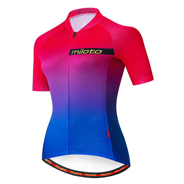 Miloto Women's Short Sleeve Cycling Jersey Blue+Pink Bike Jersey Top Mountain Bike MTB Road Bike Cycling Breathable Quick Dry Sports Clothing Apparel / Stretchy