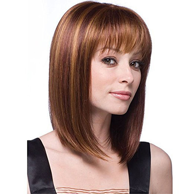 Synthetic Wig kinky Straight With Bangs Wig Short Light Brown Synthetic Hair 12 inch Women's Simple Life Women Brown
